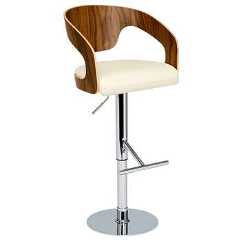 Curved padded bar stool off white (87-112 x 50cm)