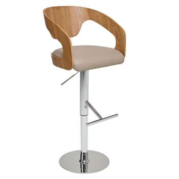 Curved padded bar stool stone (H112 x W50 x D50cm)