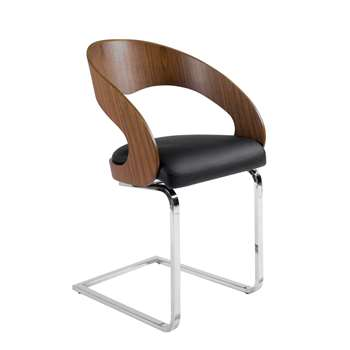 Curved padded dining chair walnut and black (82 x 50cm)