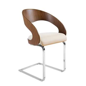 Curved padded dining chair walnut and off white (82 x 50cm)
