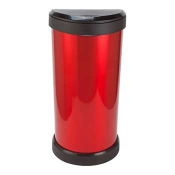 Curver 40 Litre Deco Touch Top Kitchen Bin - Red and Black 68 x 35cm