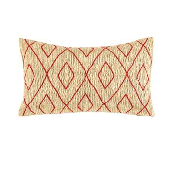 CUSCO Outdoor Cushion with Red Graphic Motifs (25 x 50cm)