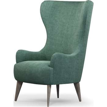 Custom MADE Bodil Accent Armchair, Duck Egg Blue with Light Wood Leg (H114 x W82 x D85cm)