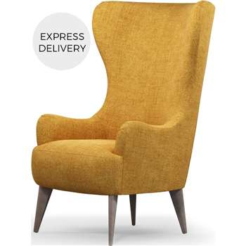 Custom MADE Bodil Accent Armchair, Imperial Yellow with Light Wood Leg (H114 x W82 x D85cm)