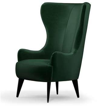 Custom MADE Bodil Accent Chair, Bottle Green Velvet with Black Wood Leg (H114 x W82 x D85cm)