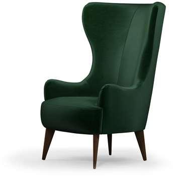 Custom MADE Bodil Accent Chair, Bottle Green Velvet with Dark Wood Leg (H114 x W82 x D85cm)