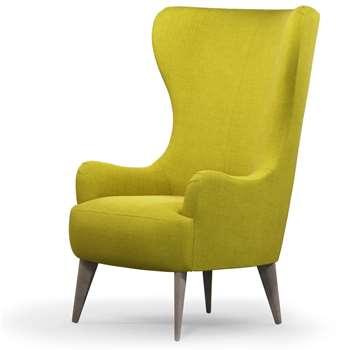 Custom MADE Bodil Accent Chair, Light Moss with Light Wood Leg (H114 x W82 x D85cm)