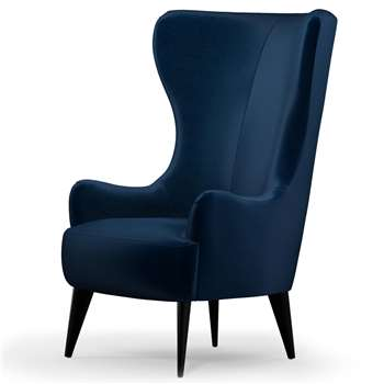 Custom MADE Bodil Accent Chair, Regal Blue Velvet with Black Wood Leg (H114 x W82 x D85cm)