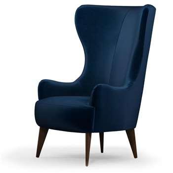 Custom MADE Bodil Accent Chair, Regal Blue Velvet with Dark Wood Leg (H114 x W82 x D85cm)