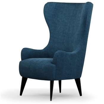 Custom MADE Bodil Accent Chair, Thames Blue with Black Wood Leg (H114 x W82 x D85cm)
