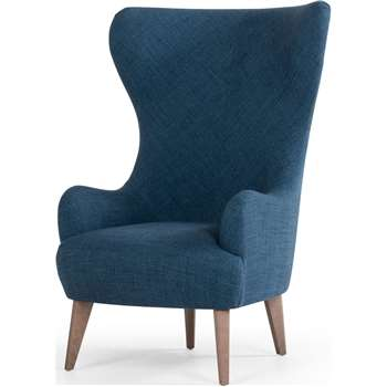 Custom MADE Bodil Accent Chair, Thames Blue with Light Wood Leg (H117 x W82 x D87cm)