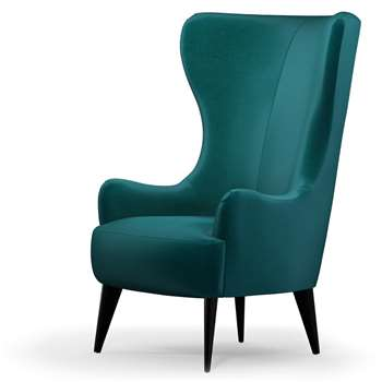 Custom MADE Bodil Accent Chair, Tuscan Teal Velvet with Black Wood Leg (H114 x W82 x D85cm)