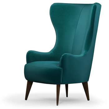 Custom MADE Bodil Accent Chair, Tuscan Teal Velvet with Dark Wood Leg (H114 x W82 x D85cm)