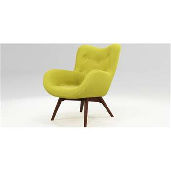 Custom MADE Doris Accent Armchair, Shetland Moss with Dark Wood Legs (H89 x W74 x D84cm)