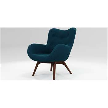 Custom MADE Doris Accent Armchair, Shetland Navy with Dark Wood Legs (H89 x W74 x D84cm)