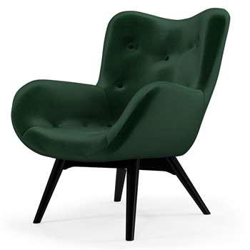 Custom MADE Doris Accent Chair, Bottle Green Velvet with  Black Wood Leg (H89 x W74 x D84cm)