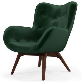 Custom MADE Doris Accent Chair, Bottle Green Velvet with Dark Wood Legs (H89 x W74 x D84cm)
