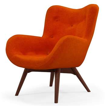 Custom MADE Doris Accent Chair, Citrus Orange Velvet with Dark Wood Legs (H89 x W74 x D84cm)