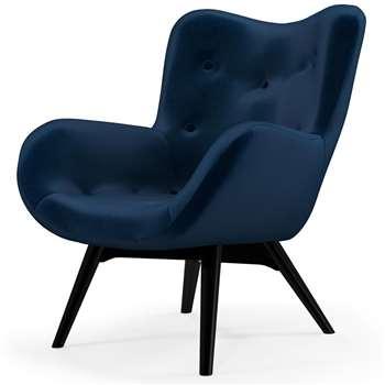 Custom MADE Doris Accent Chair, Regal Blue Velvet with  Black Wood Leg (H89 x W74 x D84cm)