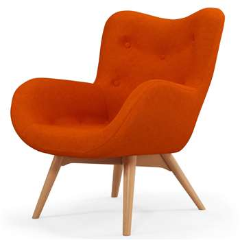 Custom MADE Doris Accent Chair, Shetland Orange (H89 x W74 x D84cm)