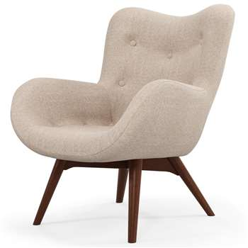 Custom MADE Doris Accent Chair, Shetland Pink with Dark Wood Legs (H89 x W74 x D84cm)