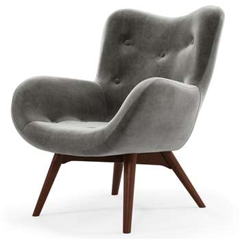Custom MADE Doris Accent Chair, Steel Grey Velvet with Dark Wood Legs (H89 x W74 x D84cm)