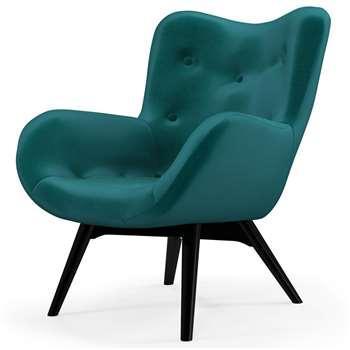 Custom MADE Doris Accent Chair,  Tuscan Teal Velvet with  Black Wood Leg (H89 x W77 x D84cm)