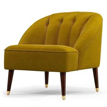 Custom MADE Margot Accent Chair, Antique Gold Cotton Velvet (H72 x W77 x D73cm)