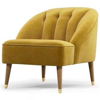 Custom MADE Margot Accent Chair, Antique Gold Velvet, Light Wood Brass Leg (H72 x W77 x D73cm)