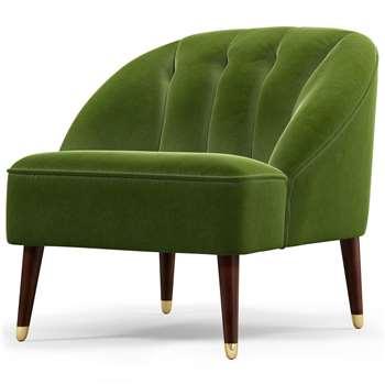 Custom MADE Margot Accent Chair, Spruce Green Cotton Velvet (H72 x W77 x D73cm)