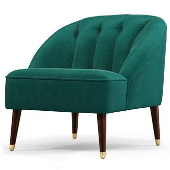 Custom MADE Margot Accent Chair, Teal Cotton Velvet (H72 x W77 x D73cm)