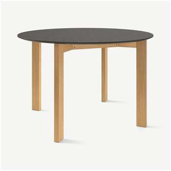 Custom MADE Niven 4 Seat Round Dining Table, Concrete and Oak (H75 x W110 x D110cm)