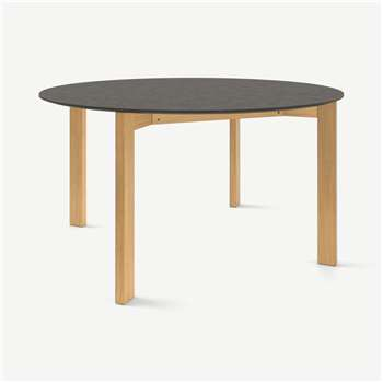 Custom MADE Niven 6 Seat Round Dining Table, Concrete and Oak (H75 x W140 x D140cm)