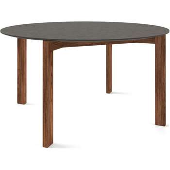 Custom MADE Niven 6 Seat Round Dining Table, Concrete and Walnut (H75 x W140 x D140cm)