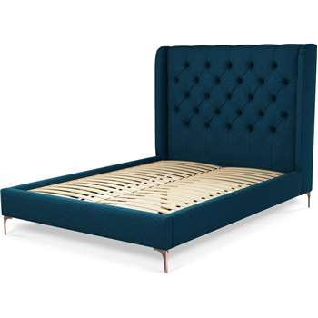Custom MADE Romare Bed, Double in Shetland Navy Wool with Copper Legs (H138 x W209 x D150cm)