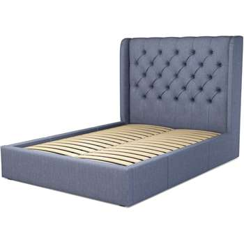 Custom MADE Romare Bed, Double with Drawer Storage in Denim Cotton (H134.5 x W209 x D150cm)