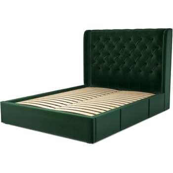 Custom MADE Romare King Size Bed with Drawers, Bottle Green Velvet (H134.5 x W165 x D219cm)