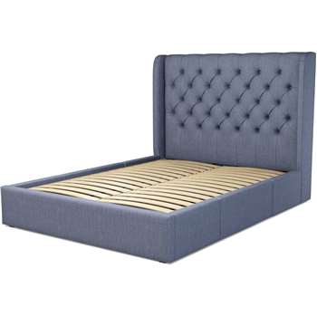 Custom MADE Romare Bed, King Size with Drawer Storage in Denim Cotton (H134.5 x W219 x D165cm)