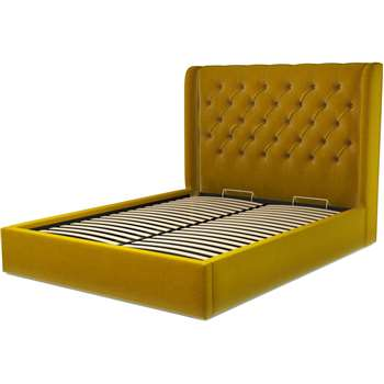 Custom MADE Romare Bed, King Size with  Ottoman Storage in Saffron Yellow Velvet (H134.5 x W219 x D165cm)