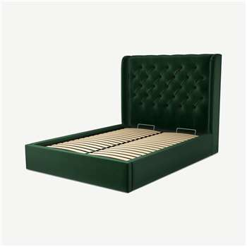 Custom MADE Romare Double size Bed with Ottoman, Bottle Green Velvet (H134.5 x W150 x D209cm)