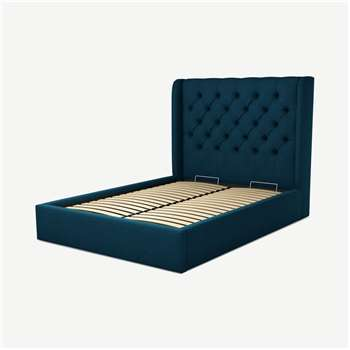 Custom MADE Romare Double size Bed with Ottoman, Navy Wool (H134.5 x W150 x D209cm)