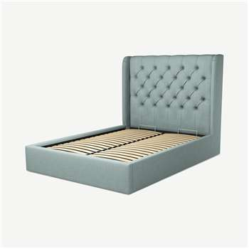 Custom MADE Romare Double size Bed with Ottoman, Sea Green Cotton (H134.5 x W150 x D209cm)