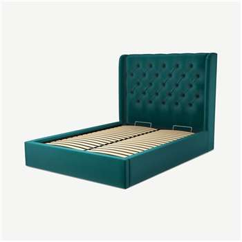 Custom MADE Romare Double size Bed with Ottoman, Tuscan Teal Velvet (H134.5 x W150 x D209cm)