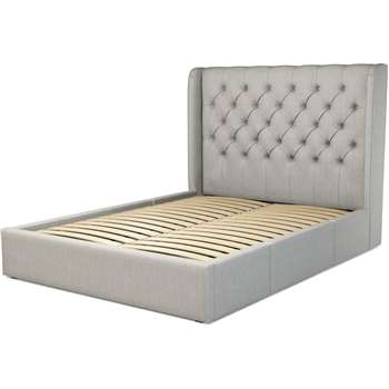 Custom MADE Romare King size Bed  with Drawers, Ghost Grey Cotton (H134.5 x W165 x D219cm)