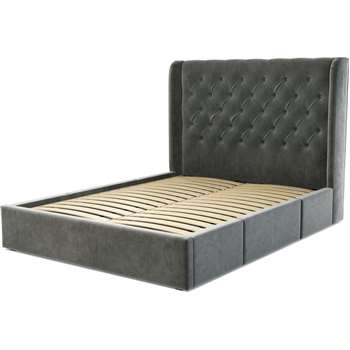 Custom MADE Romare King size Bed with Drawers, Steel Grey Velvet (H134.5 x W165 x D219cm)