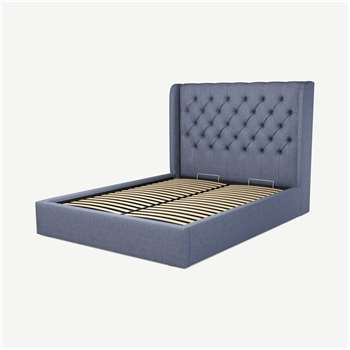 Custom MADE Romare King size Bed  with Ottoman, Denim  Cotton (H134.5 x W165 x D219cm)