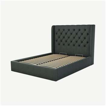 Custom MADE Romare King size Bed with Ottoman, Etna Grey Wool (H134.5 x W165 x D219cm)