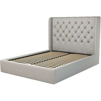 Custom MADE Romare King size Bed  with Ottoman, Ghost Grey Cotton (H134.5 x W165 x D219cm)