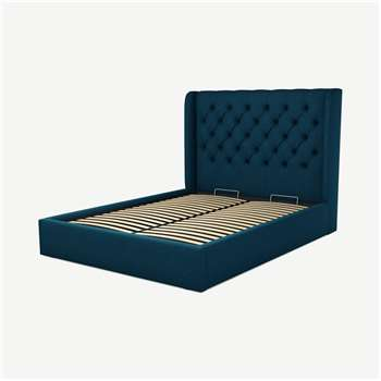 Custom MADE Romare King size Bed with Ottoman, Navy Wool (H134.5 x W165 x D219cm)