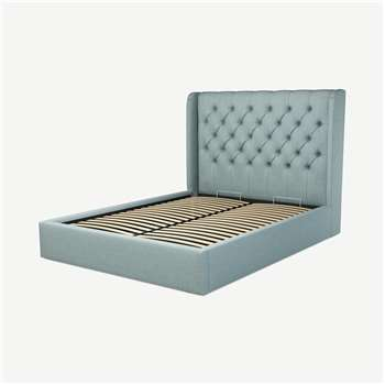 Custom MADE Romare King size Bed with Ottoman, Sea Green Cotton (H134.5 x W165 x D219cm)